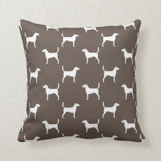 Harrier Dog Silhouettes Pattern Throw Pillow