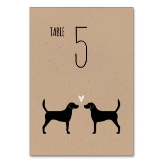 Harrier Dog Silhouettes Wedding Reception Table Number
