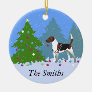 Harrier or Beagle Decorating a Christmas tree Ceramic Ornament