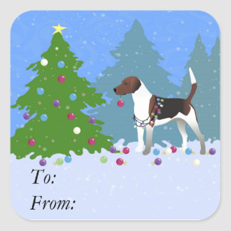 Harrier or Beagle Decorating a Christmas tree Square Sticker