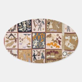 Harriet Powers - Pictoral Quilt 1898 Oval Sticker