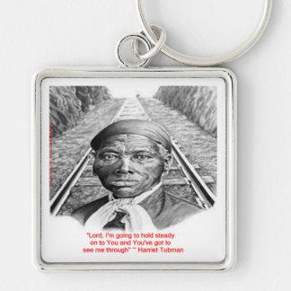 """Harriet Tubman y """"señor constante"""" cita del Llavero Cuadrado Plateado"""