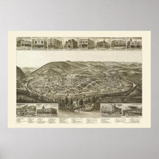 Harriman, TN Panoramic Map - 1892 Poster