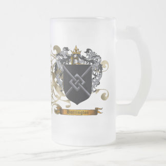 Harrington Coat of Arms Frosted Glass Beer Mug