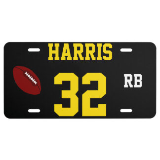 Sport Featured Trends - Harris 32 Black and Gold Football Template License Plate