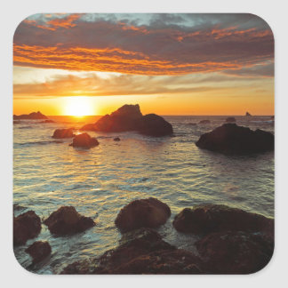 Harris Beach, sunset, Brookings, OR, the USA