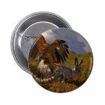 Harris Hawk and Jackrabbit - acrylic Pinback Button