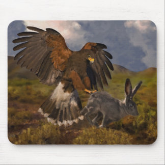 Harris Hawk and Jackrabbit - acrylic Mouse Pad
