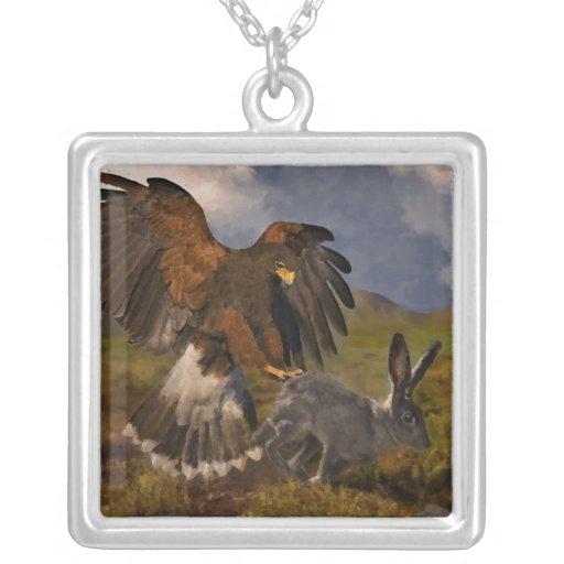Harris Hawk and Jackrabbit - acrylic Square Pendant Necklace