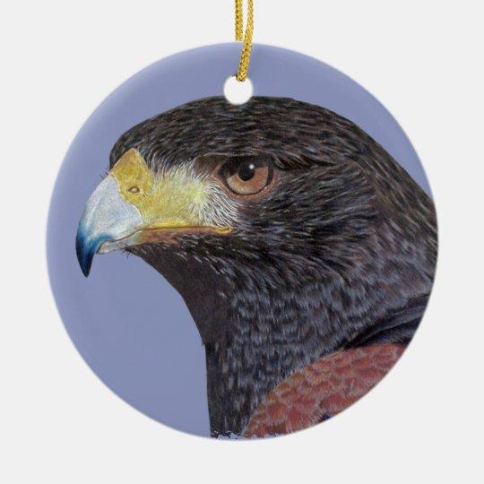 Harris Hawk - cp Ceramic Ornament