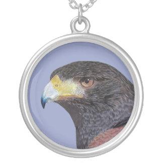 Harris Hawk-cp Round Pendant Necklace