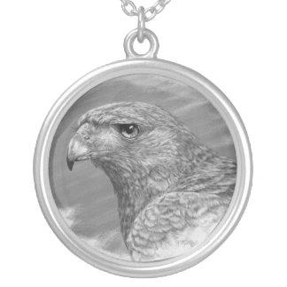 Harris Hawk Drawing Round Pendant Necklace