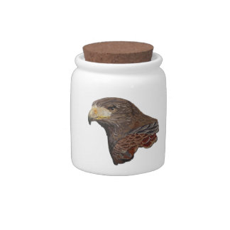Harris Hawk Faux Embroidery Candy Jars