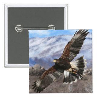 Harris Hawk- pastel Pin