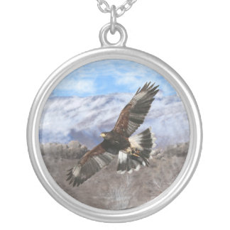 Harris Hawk- pastel Round Pendant Necklace