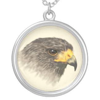 Harris Hawk watercolor Round Pendant Necklace