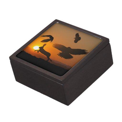 Harris Hawks Hunting Jewelry Box