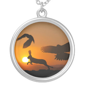 Harris Hawks Hunting Silver Plated Necklace