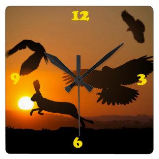 Harris Hawks Hunting Wallclock