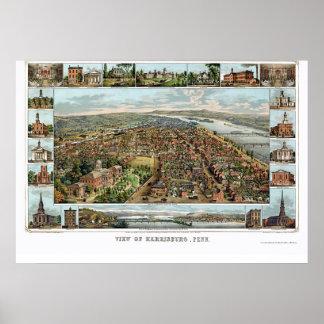 Harrisburg, mapa panorámico del PA - 1855 Impresiones