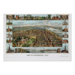 Harrisburg, mapa panorámico del PA - 1855 Póster