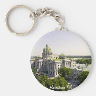 Harrisburg PA Basic Round Button Keychain