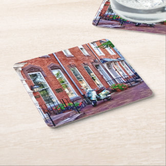Harrisburg PA Moped on State St Square Paper Coaster
