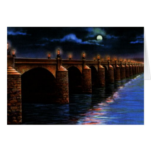 Harrisburg Pennsylvania at Night Market St Bridge Card