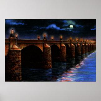 Harrisburg Pennsylvania Market St Bridge at Night Poster