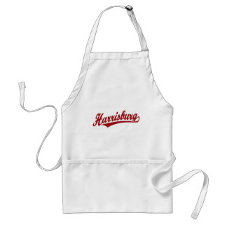 Harrisburg script logo in red adult apron