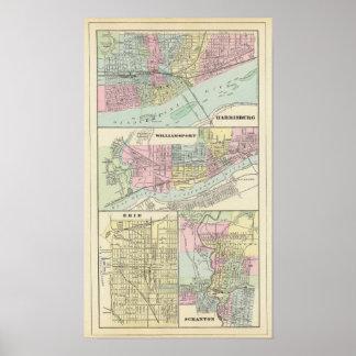 Harrisburg, Williamsport, Erie, Scranton Posters