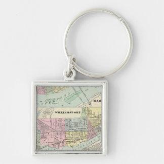 Harrisburg, Williamsport, Erie, Scranton Silver-Colored Square Keychain