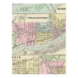 Harrisburg Williamsport Erie Scranton Tarjeta Postal