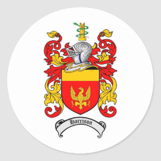 HARRISON FAMILY CREST -  HARRISON COAT OF ARMS CLASSIC ROUND STICKER