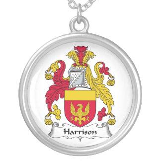 Harrison Family Crest Round Pendant Necklace