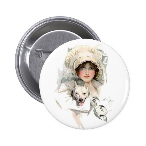 Harrison Fisher Girl  and Her Dog Pinback Buttons
