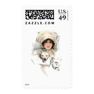 Harrison Fisher Girl and Her Dog Stamps