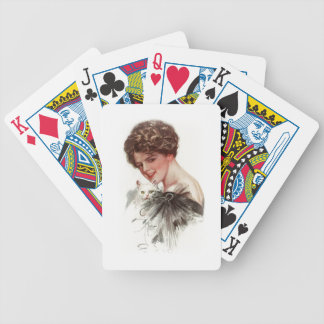 Harrison Fisher Girl Fair Americans White Cat Lady Bicycle Playing Cards