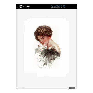 Harrison Fisher Girl Fair Americans White Cat Lady Decals For iPad 2