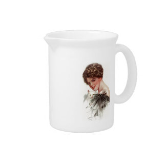 Harrison Fisher Girl Fair Americans White Cat Lady Drink Pitchers