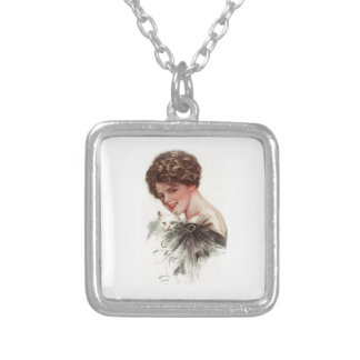 Harrison Fisher Girl Fair Americans White Cat Lady Square Pendant Necklace