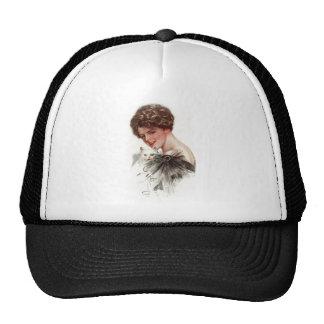 Harrison Fisher Girl Fair Americans White Cat Lady Trucker Hat