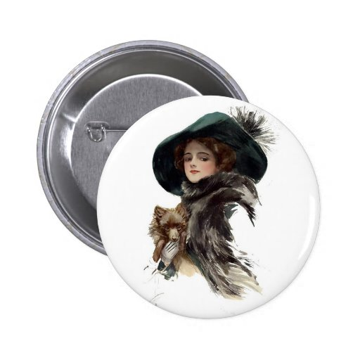 Harrison Fisher Girl  in a Teal Hat Pinback Button
