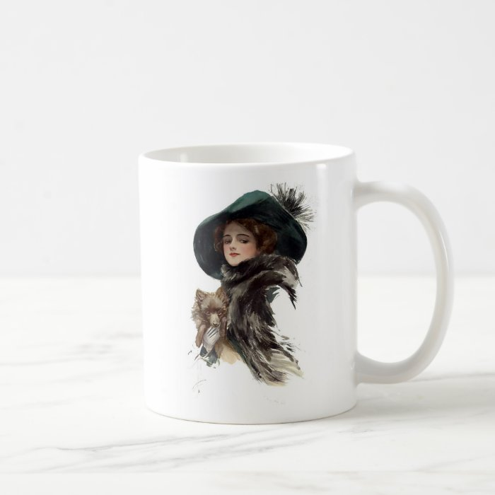 Harrison Fisher Girl  in a Teal Hat Coffee Mug