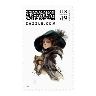 Harrison Fisher Girl in a Teal Hat Postage Stamps