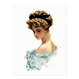 Harrison Fisher Girl  in Blue Postcard