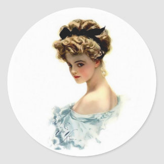Harrison Fisher Girl  in Blue Round Stickers
