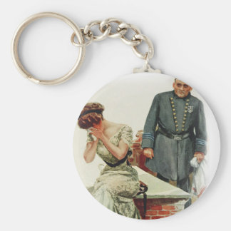 Harrison Fisher Girl When a Man Marries Jilted Keychain