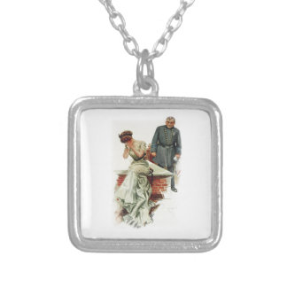 Harrison Fisher Girl When a Man Marries Jilted Square Pendant Necklace