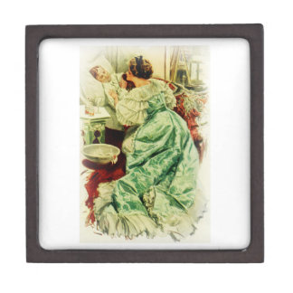 Harrison Fisher Girl When a Man Marries Sick Bed Keepsake Box